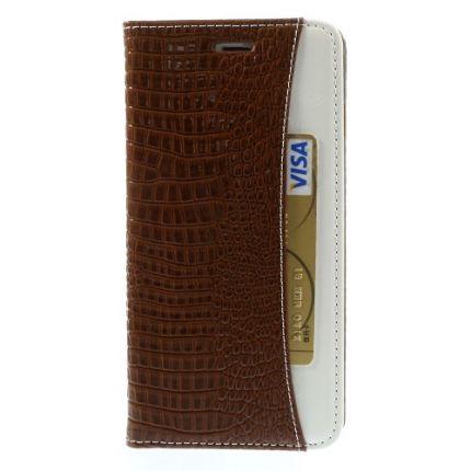Mobigear Krokodil Klapphülle für iPhone 6(s) Plus - Braun