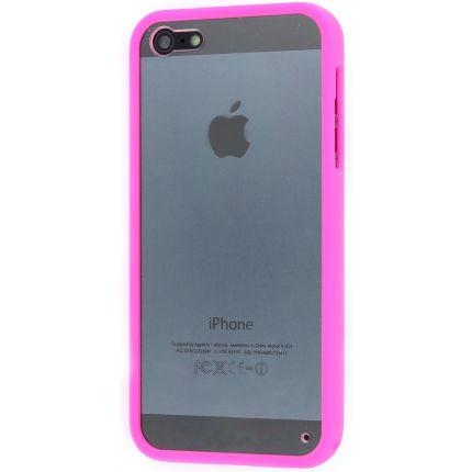 Phone Essentials Clear Hardcase Backcover für iPhone SE (2016) / 5S / 5 - Transparent / Pink