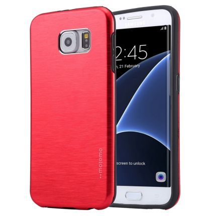 Mobigear Brushed Hardcase Backcover für Samsung Galaxy S7 Edge - Rot