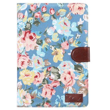 Mobigear Folio Baumwolle Klapphülle für iPad Mini 4 (2015) - Blaue Blumen