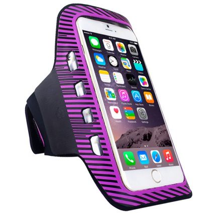 Mobigear LED Neopren Sportarmband für iPhone 6(s) Plus - Lila