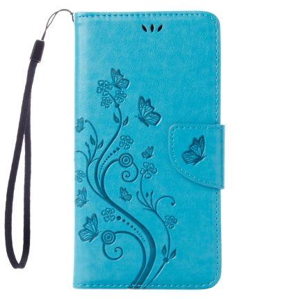 Mobigear Blumen Klapphülle für iPhone SE (2020) / 8 / 7 - Blau