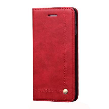 Mobigear Stitching Klapphülle für iPhone SE (2020) / 8 / 7 - Rot