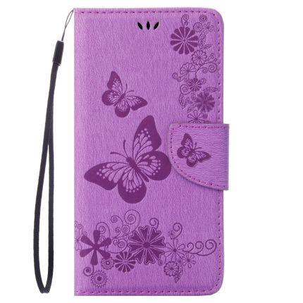 Mobigear Schmetterling Klapphülle für iPhone SE (2020) / 8 / 7 - Lila