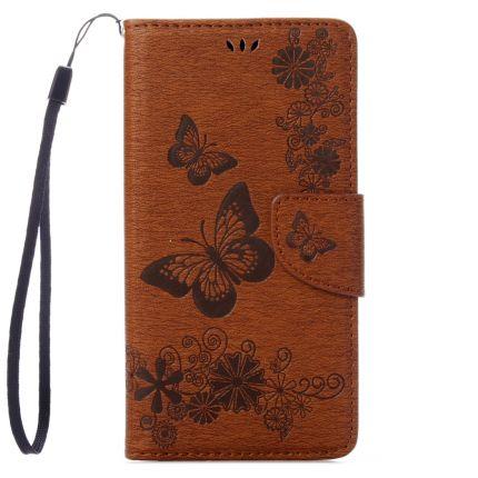 Mobigear Schmetterling Klapphülle für iPhone SE (2020) / 8 / 7 - Braun