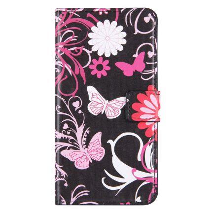 Mobigear Design Klapphülle für iPhone 8 Plus / 7 Plus - Pinker Schmetterling
