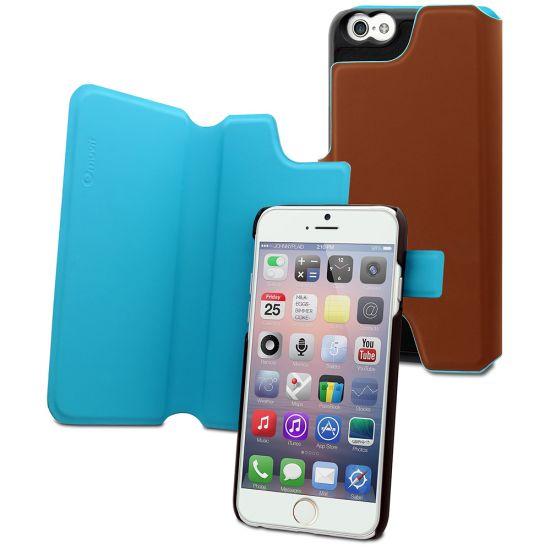 Muvit Magic Reverso Klapphülle für iPhone 6(s) Plus - Braun / Türkis