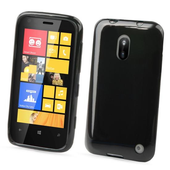 Muvit Minigel Glazy TPU Backcover für Nokia Lumia 620 - Schwarz