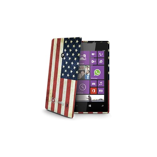 Celly Gelskin TPU Backcover für Nokia Lumia 520 - Weinlese-USA-Flagge.