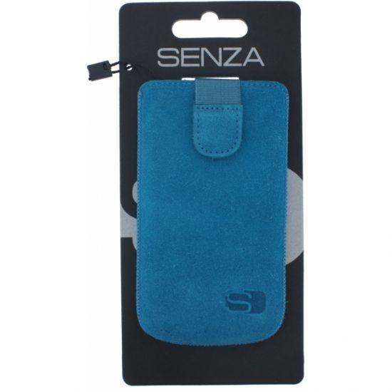 Senza Slide Echtleder Einschubhülle Universal XL - Deep Blue