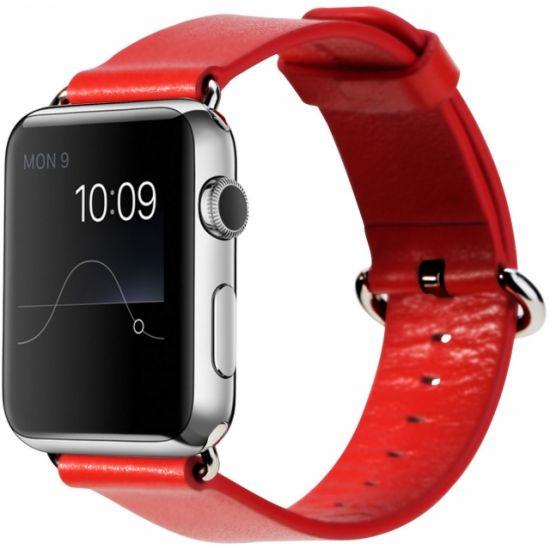 Rock Echtleder Armband für Apple Watch 45mm / 44mm / 42mm - Rot