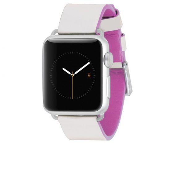 Case Mate Edged Strap Echtleder Armband für Apple Watch 41mm / 40mm / 38mm - Weiß / Pink