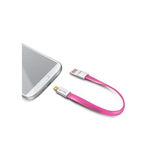 Celly Schlüsselanhänger USB-A auf Micro USB Kabel 2 Meter - Pink