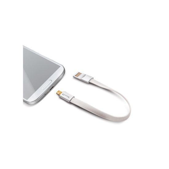 Celly Schlüsselanhänger USB-A auf Micro USB Kabel 2 Meter - Weiß