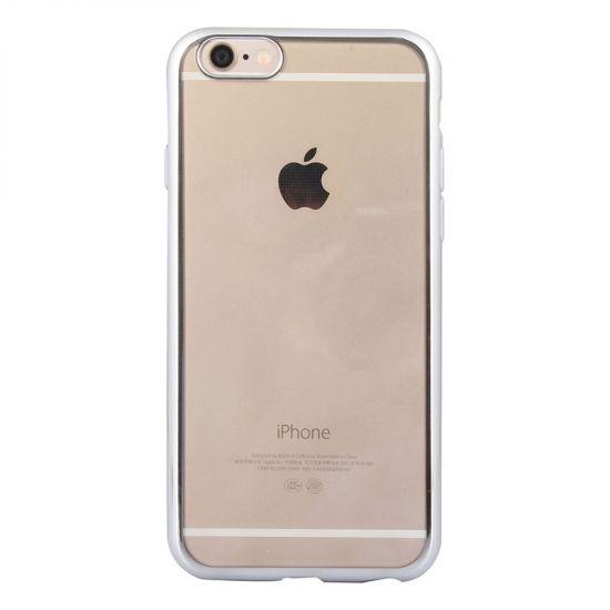 Mobigear Royal TPU Backcover für iPhone 6(s) - Transparent / Silber