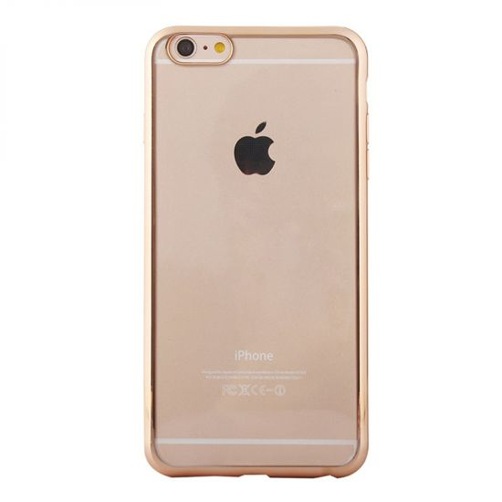 Mobigear Royal TPU Backcover für iPhone 6(s) - Transparent / Gold