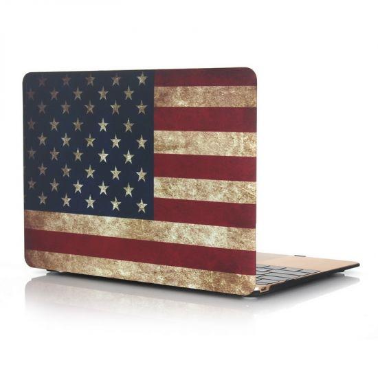 Mobigear Design Case für MacBook 12 Zoll A1534 - Vintage US-Flagge.