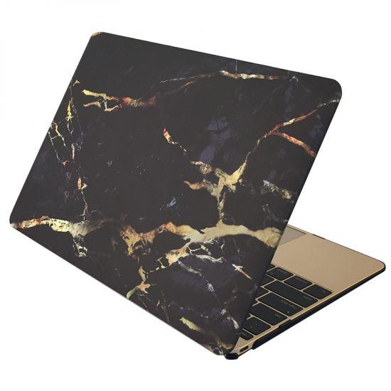 Mobigear Marmor Case für MacBook 12 Zoll A1534 - Schwarz / Gold
