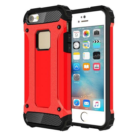 Mobigear Outdoor Hardcase Backcover für iPhone SE (2016) / 5S / 5 - Rot