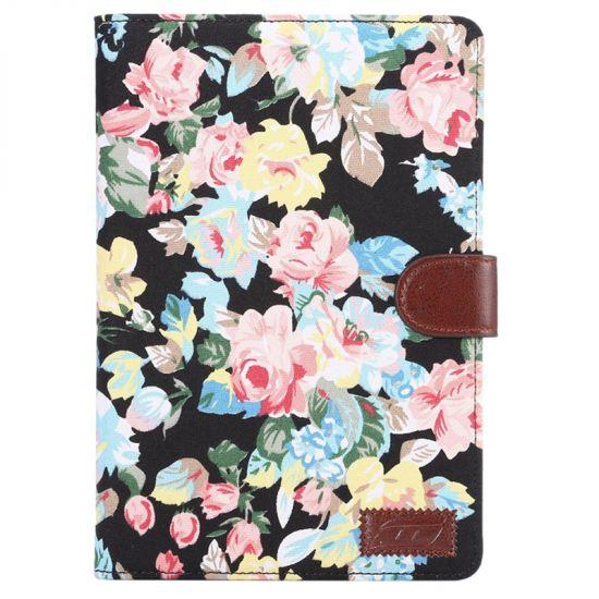 Mobigear Folio Baumwolle Klapphülle für iPad Mini 4 (2015) - Blumen Schwarz