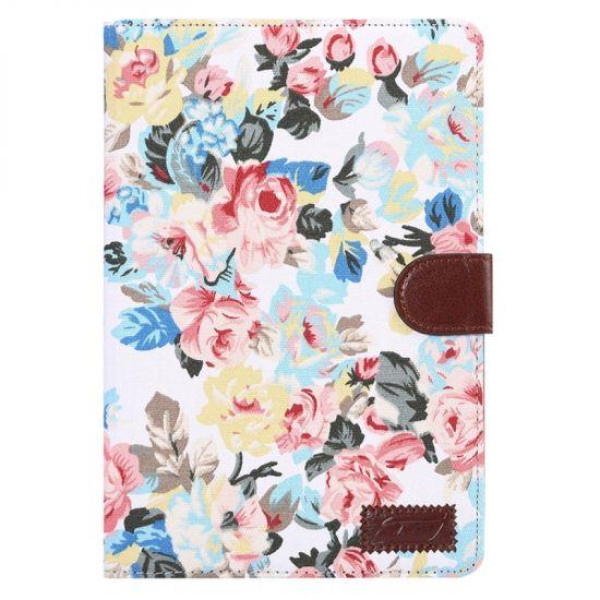Mobigear Folio Baumwolle Klapphülle für iPad Mini 4 (2015) - Weiße Blumen