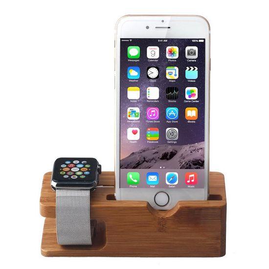Mobigear Wooden Dockingstation für Apple iPhone / Watch - Bambus