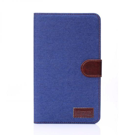 Mobigear Denim Baumwolle Klapphülle für Samsung Galaxy Tab 4 7.0 - Dunkelblau