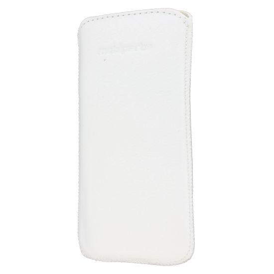 Mobiparts Luxury Pouch Echtleder Einschubhülle für iPhone SE (2016) / 5S / 5C / 5 - Weiß