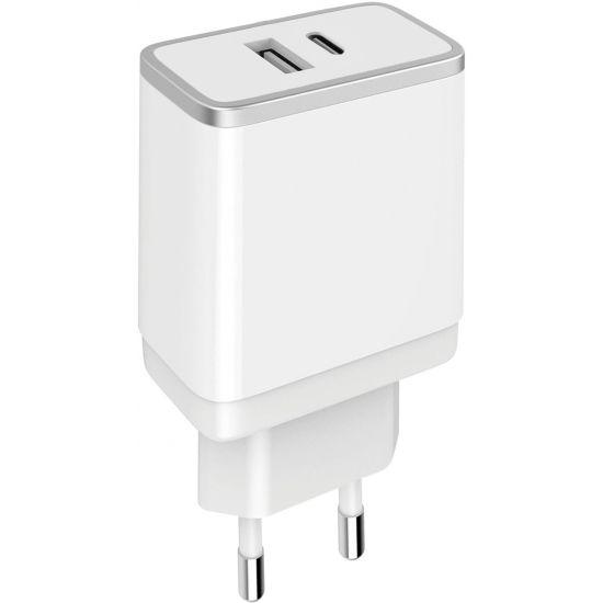 Mobiparts Dual USB / USB-C Ladegerät 12W 2.4A - Weiß