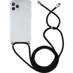 Mobigear Lanyard TPU Handykette für iPhone 12 Pro Max - Transparent / Schwarz