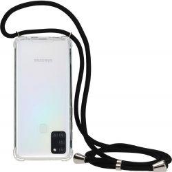 Mobiparts Lanyard TPU Handykette für Samsung Galaxy A21s - Transparent / Schwarz