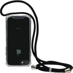 Mobiparts Lanyard TPU Handykette für iPhone SE (2020) / 8 / 7 - Transparent / Schwarz