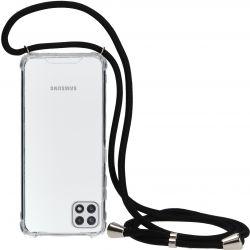 Mobiparts Lanyard TPU Handykette für Samsung Galaxy A22 5G - Schwarz